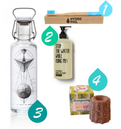 Shopping Tipps mit schönen Produkten zum Wasser sparen.