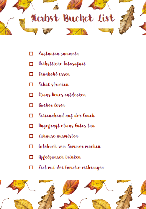 Download zur Bucket List